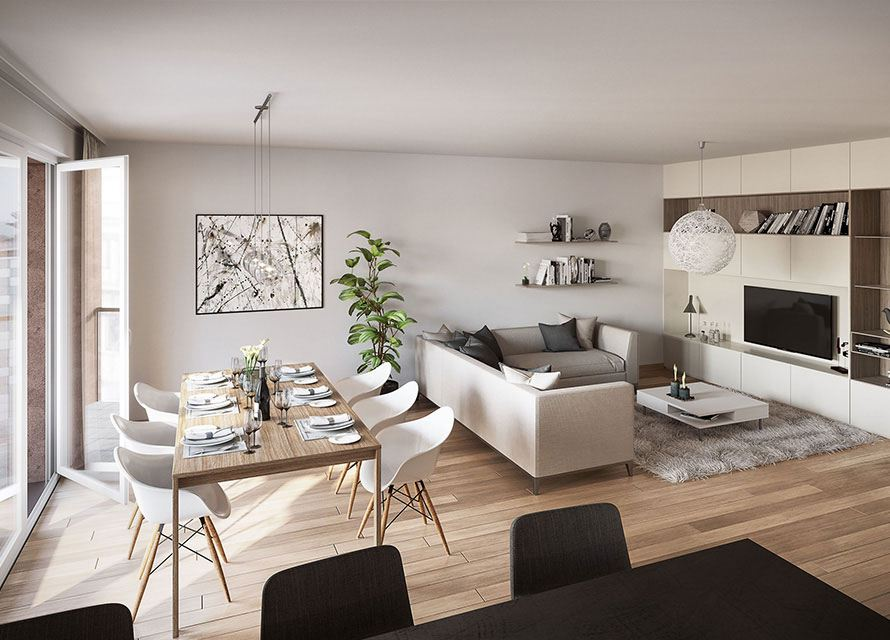 The Helios residence apartment (Luxembourg): Interior view of the living room.