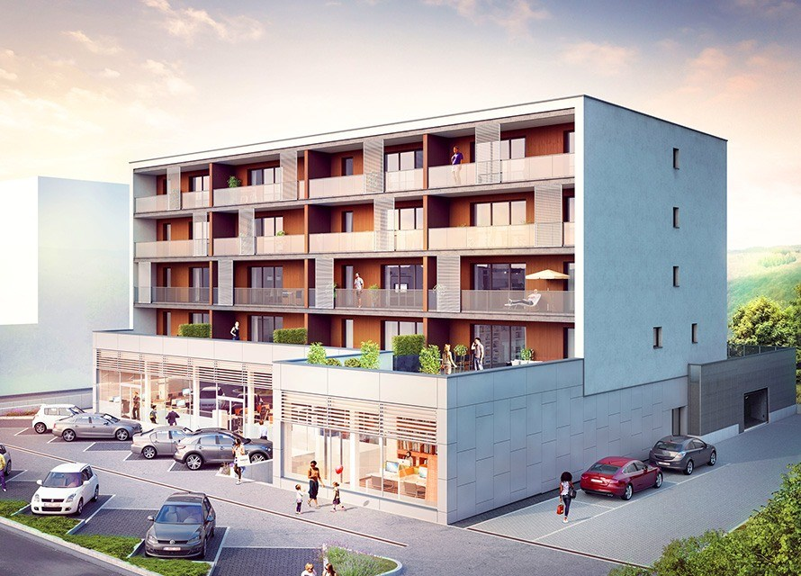 Helios residence located in Walderfange (Luxembourg): General layout on the street side.
