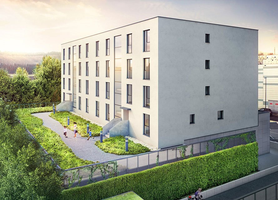 Helios residence located in Walderfange (Luxembourg): General layout on the garden side.