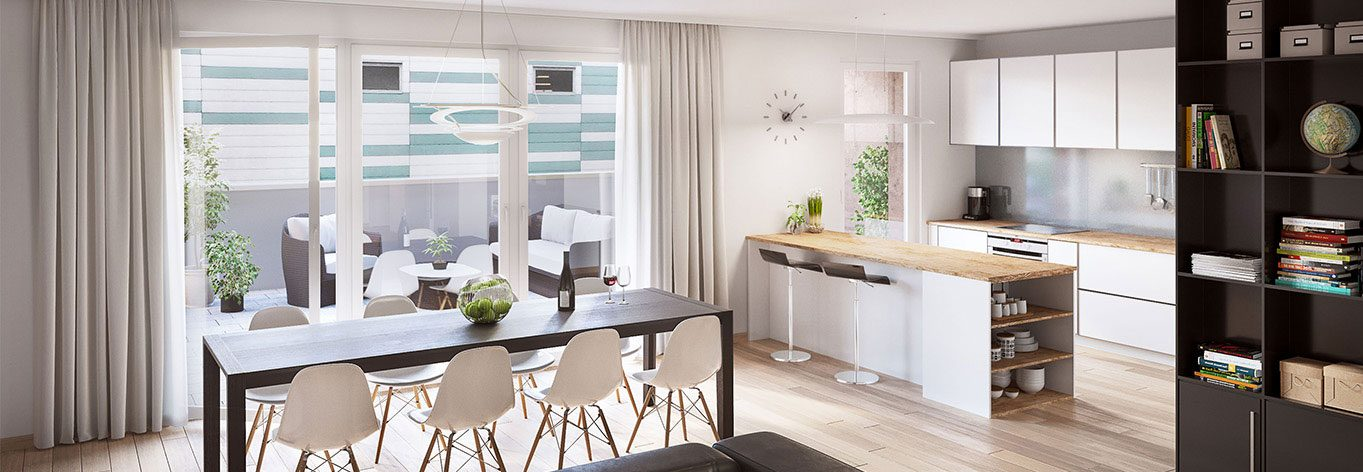 The Helios residence apartment (Luxembourg): Interior view dining room.
